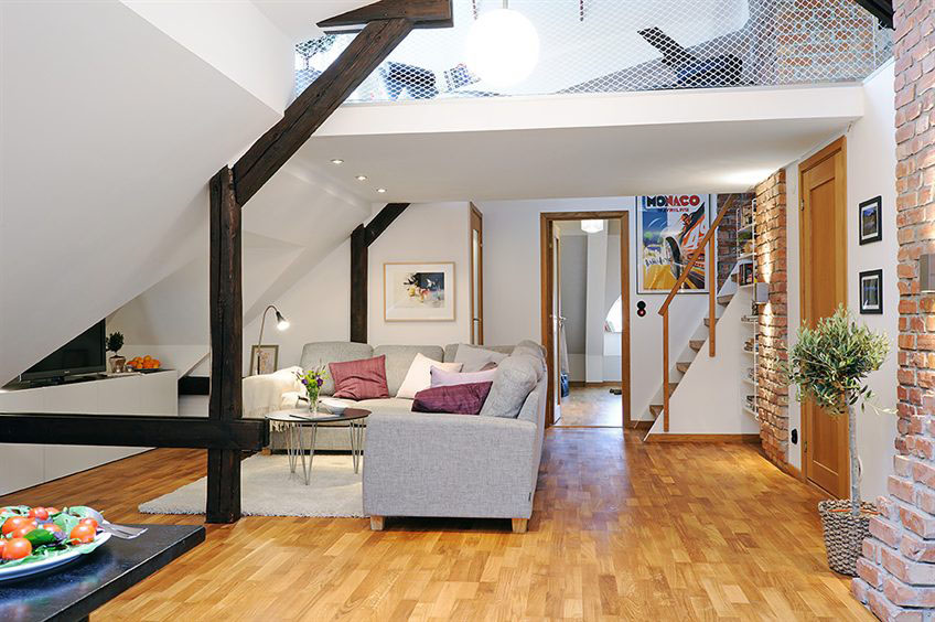 two level loft apartment in swedish style