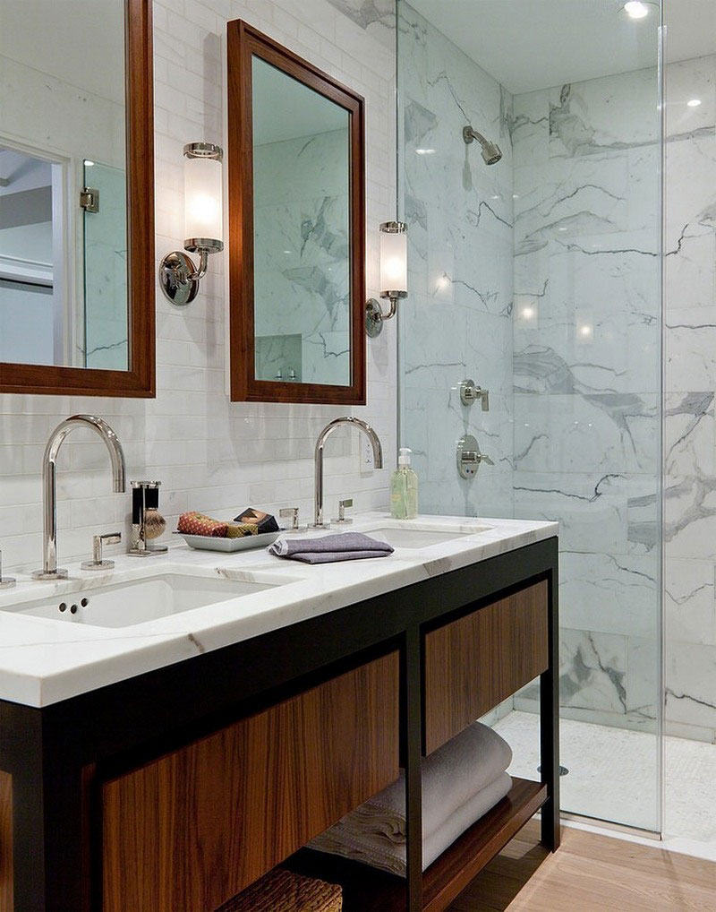 bathroom for open-plan apartment designed eclectic style