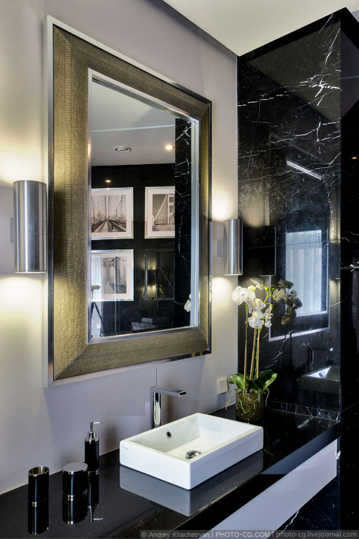 black white apartment bathroom
