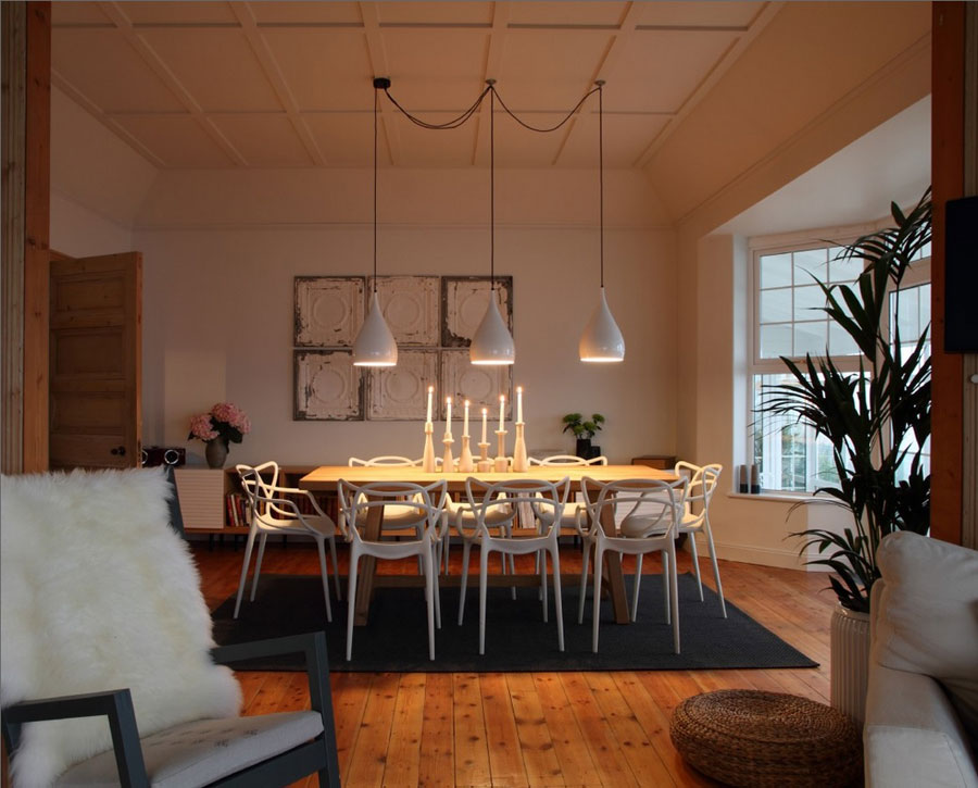 dining area with white walls classic elements