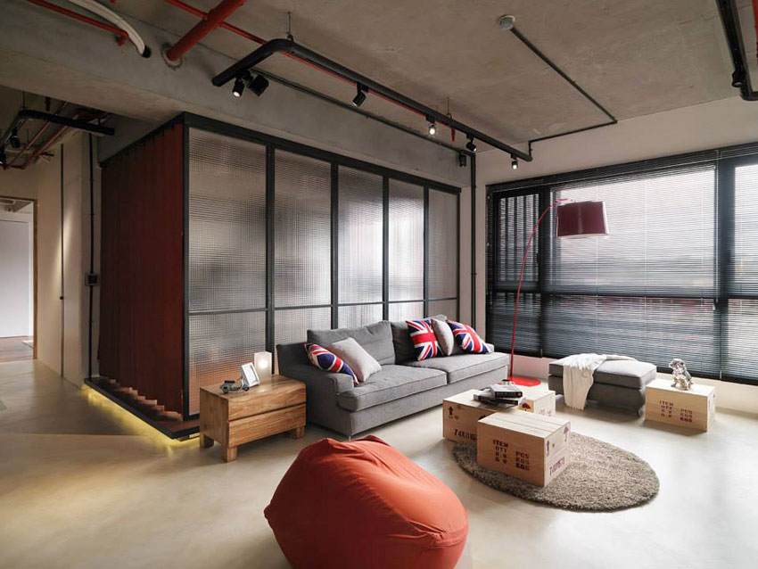Industrial Loft Apartment With Red Accents In Taipei