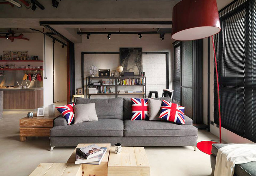 Industrial Loft Apartment with Red Accents in Taipei | 4BetterHome