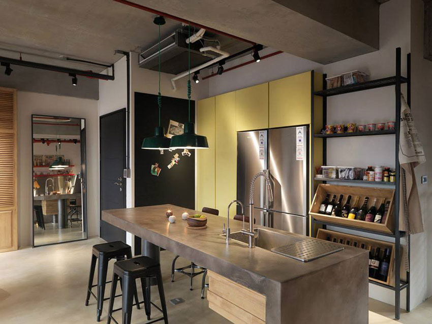 industrial loft apartment with red accents in taipei 4betterhome