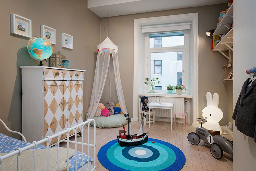 kids room with gray green wall