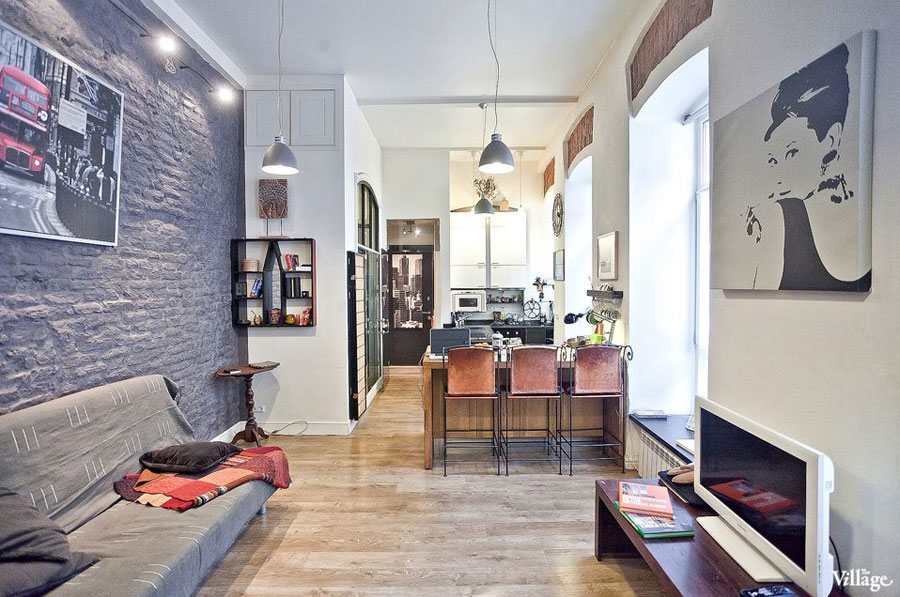 living room for small apartment with brick wall