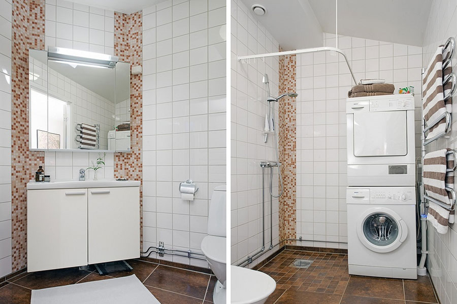 loft apartment bathroom with white tiles