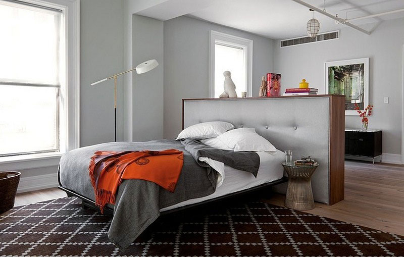 open-plan bedroom in eclectic style