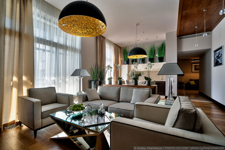 open floor plan apartment moscow