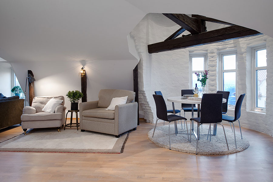 open floor plan loft in scandinavian style