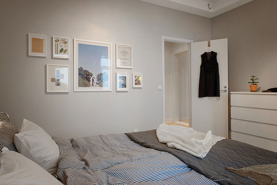 scandinavian bedroom with gray walls