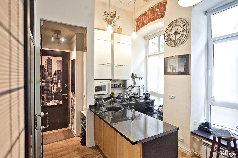 small apartment kitchen zone with classic style elements