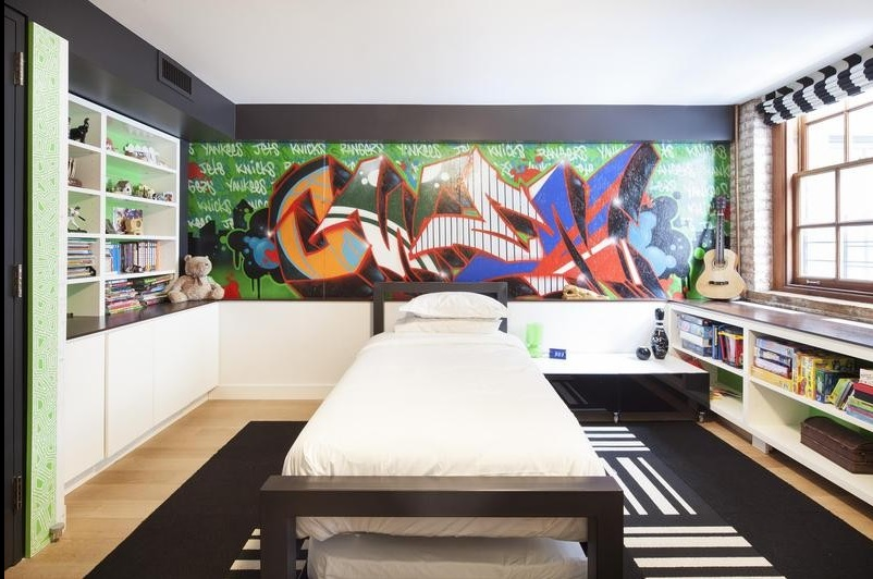 stylish kids room for boy in urban style