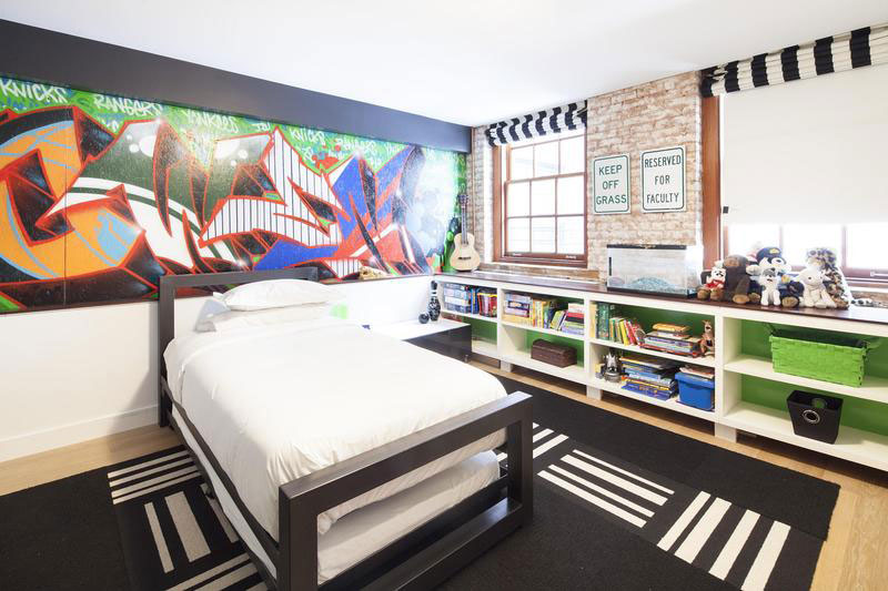 urban style kids room for boy with brick walls