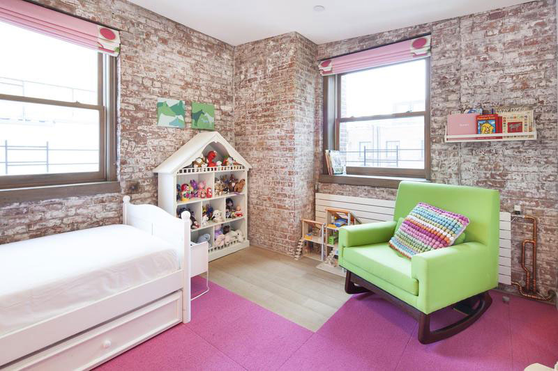 urban style kids room for girl with brick walls