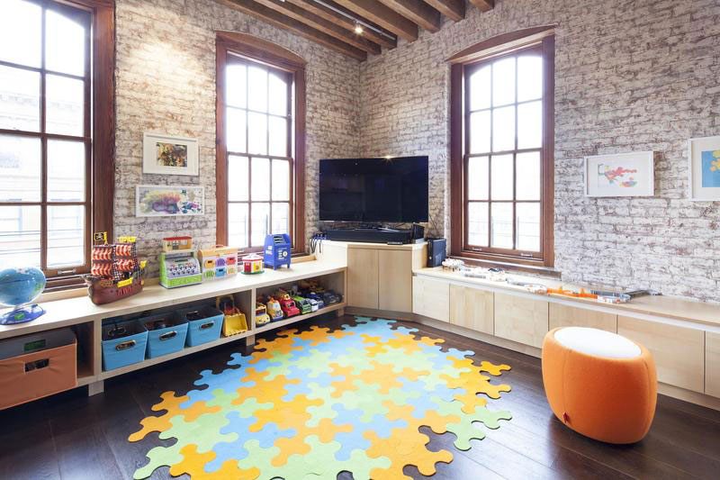 urban style kids room with brick walls