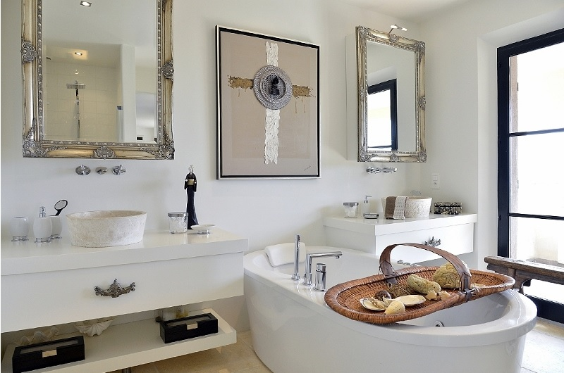 white house bathroom in white with classic elements