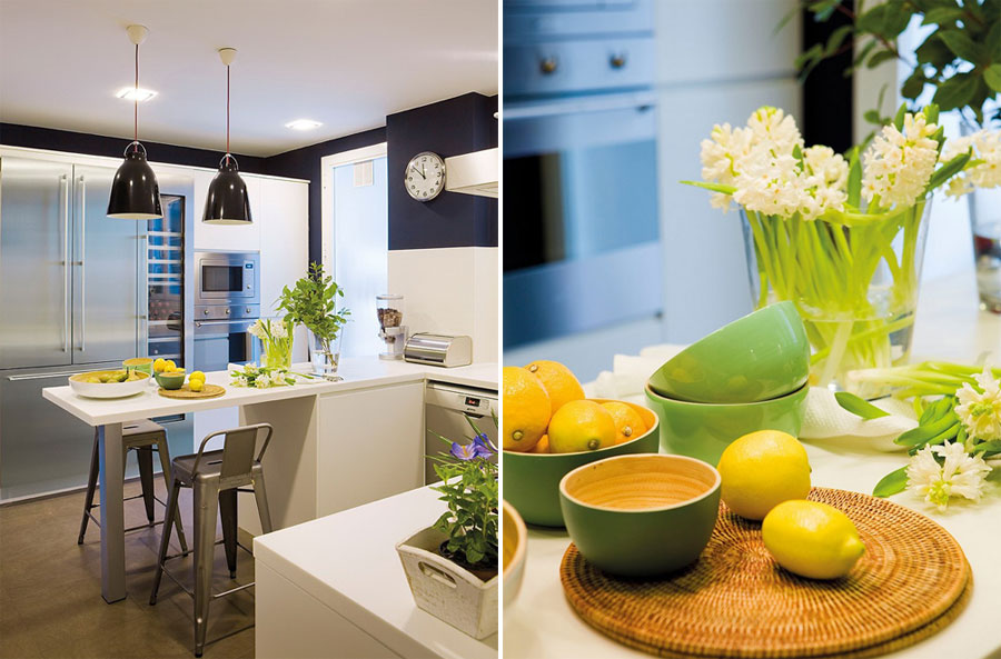 white kitchen design with yellow green accents