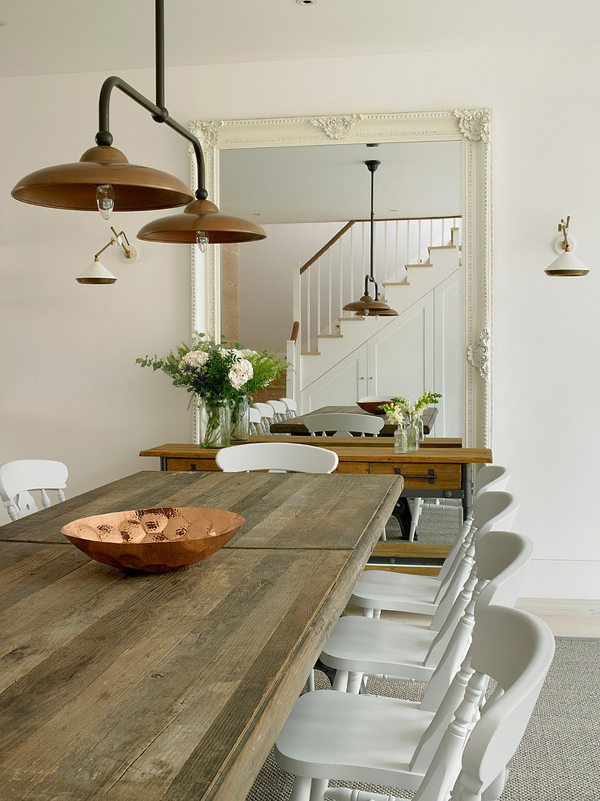 classic old kitchen design with rustic ceiling lamp