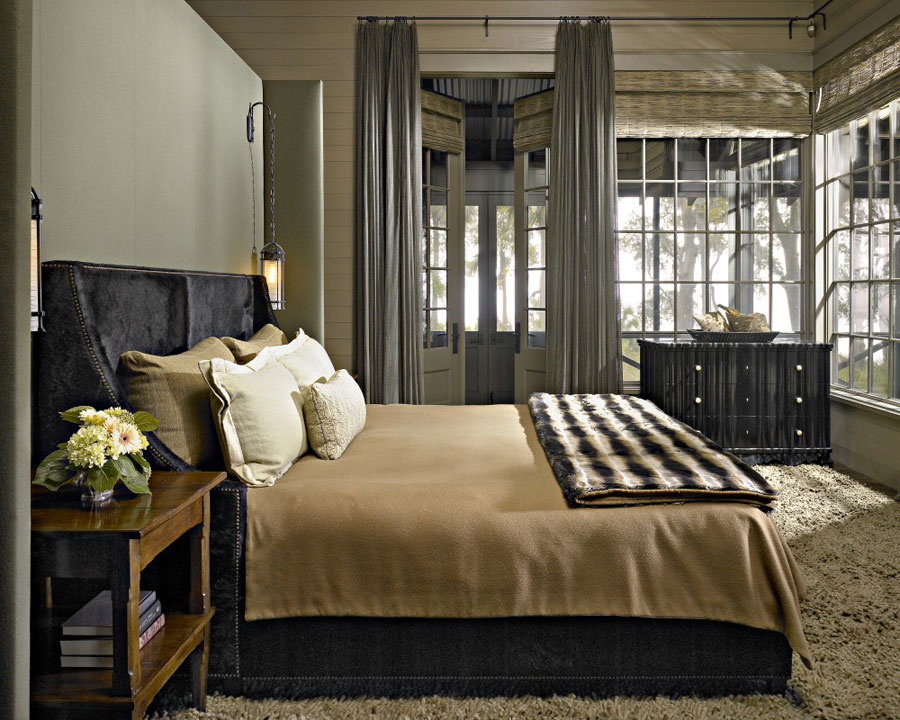 classic rustic bedroom design natural green black