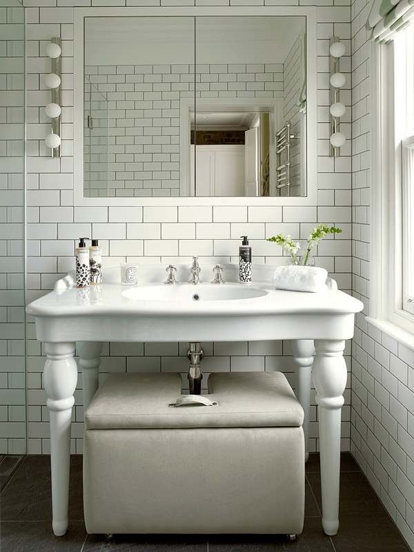 interior white brick tiles for eclectic bathroom
