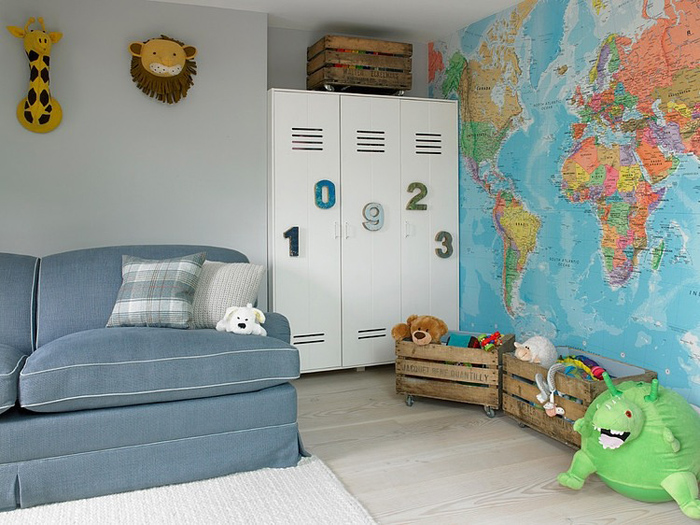 modern eclectic kids room with classic style sofa