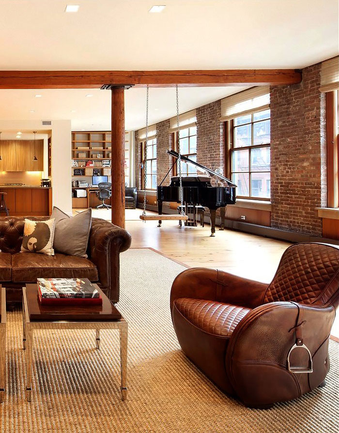 open plan loft style apartment in New York