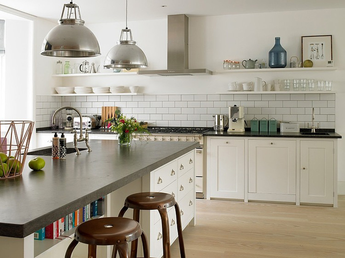 rustic style kitchen with classic white furniture white wall tiles