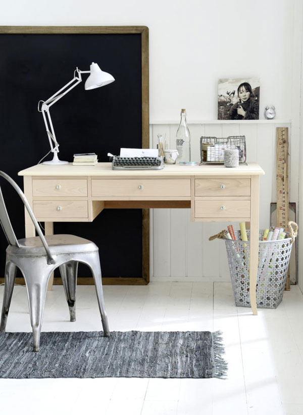 black with white home office