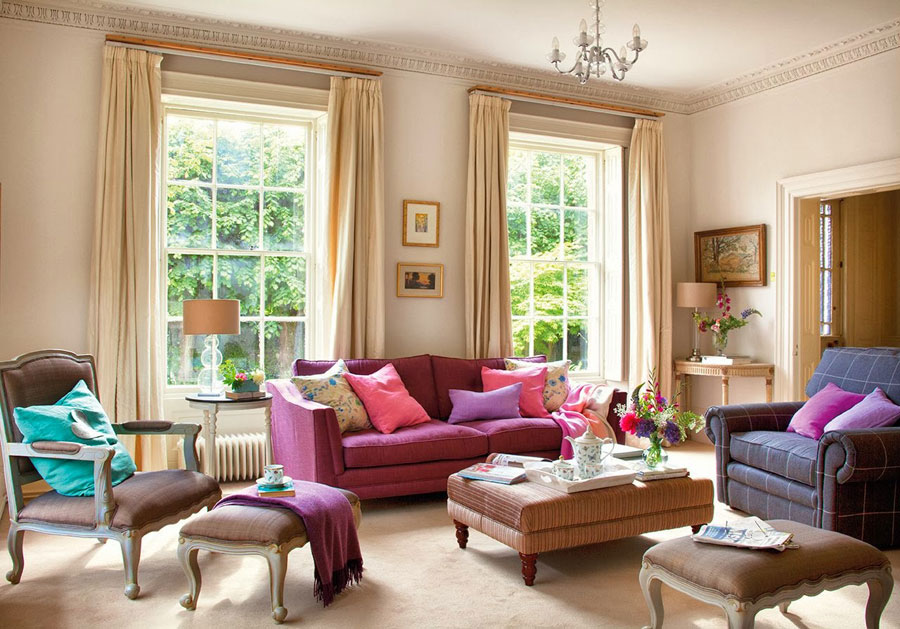 Warm And Cozy Classic Style Interior With Purple And Pink Accents