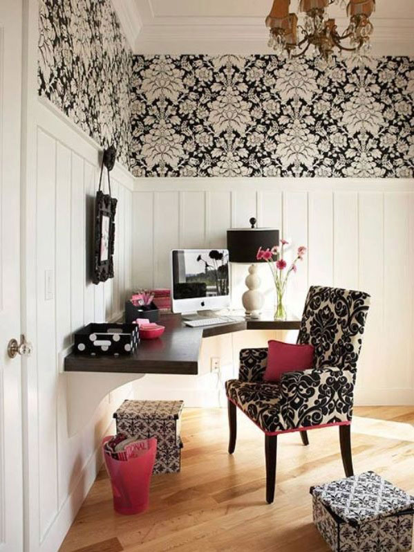 home office with black wall decoration