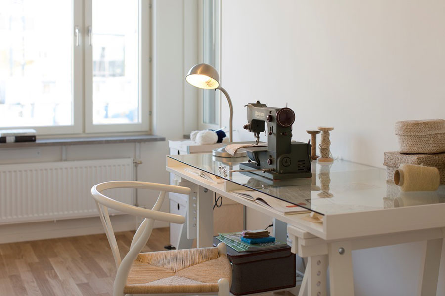 ikea workspace in white for apartment in scandinavian style