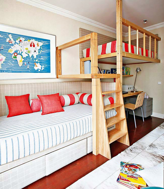 interior for boys room withred accents