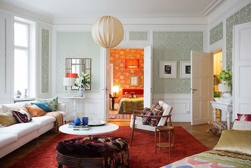 living room design for apartment in scandinavian style