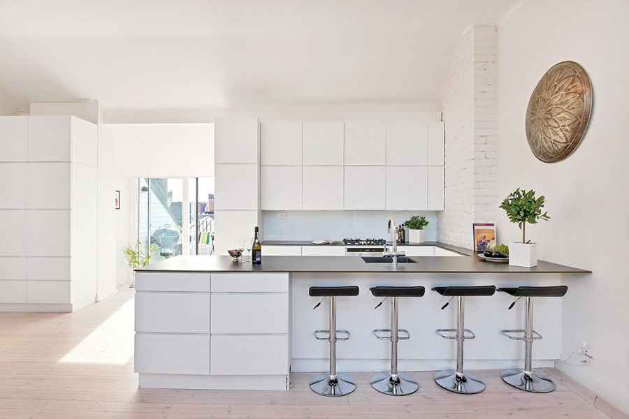 loft kitchen in white