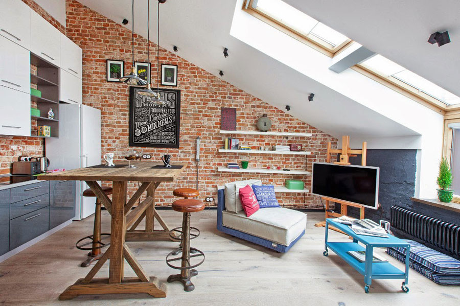 open-plan living room for small loft