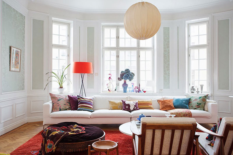 scandinavian apartment interior with bright accents