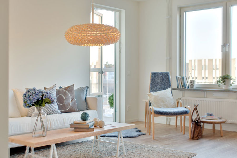 scandinavian style apartment living room with birch furnitures