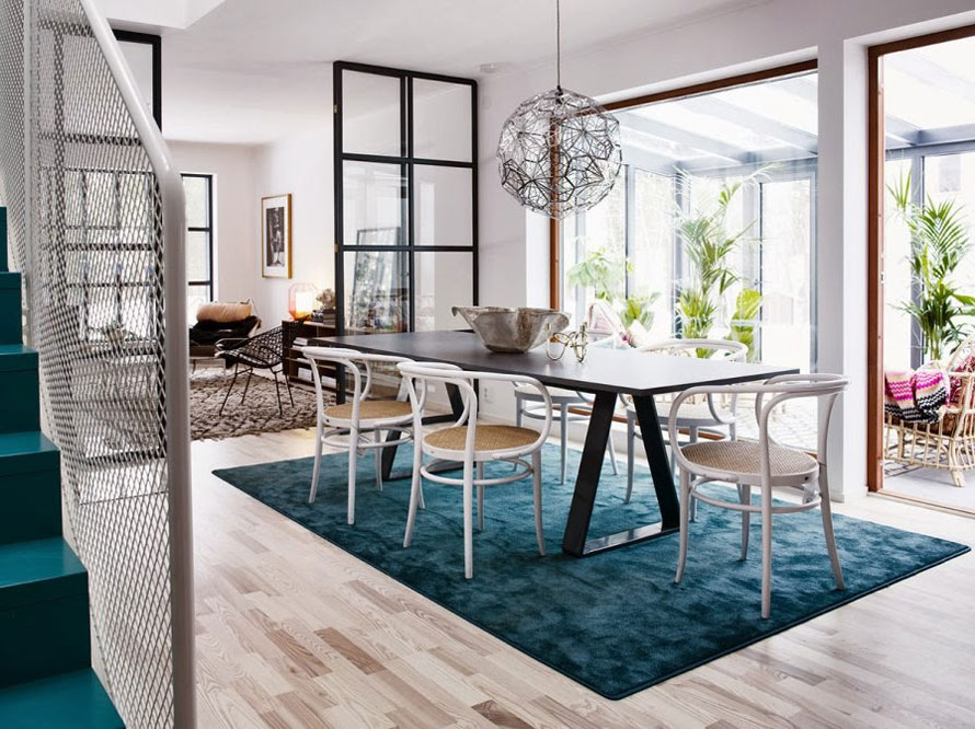 scandinavian style interior with turquoise blue accents