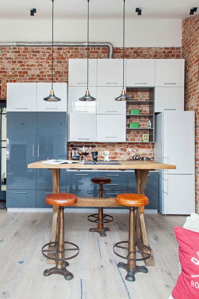 Attractive Small Loft Kitchen Design With Red Brick Wall Part 28