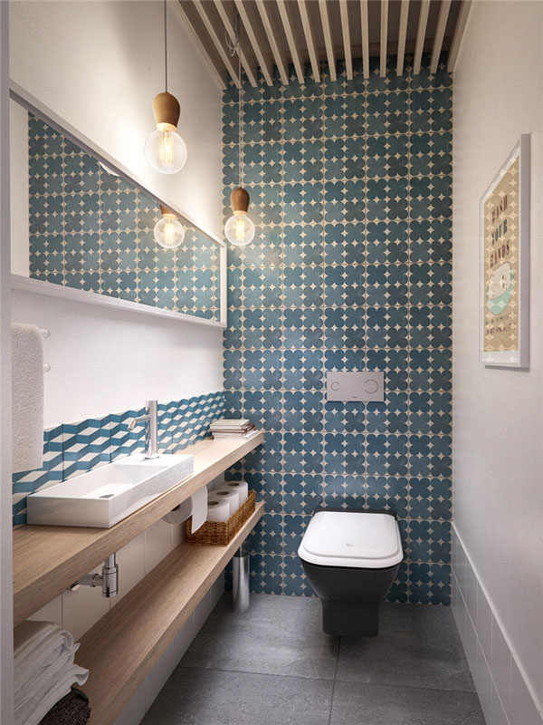 toilet room with stylish wall tiles
