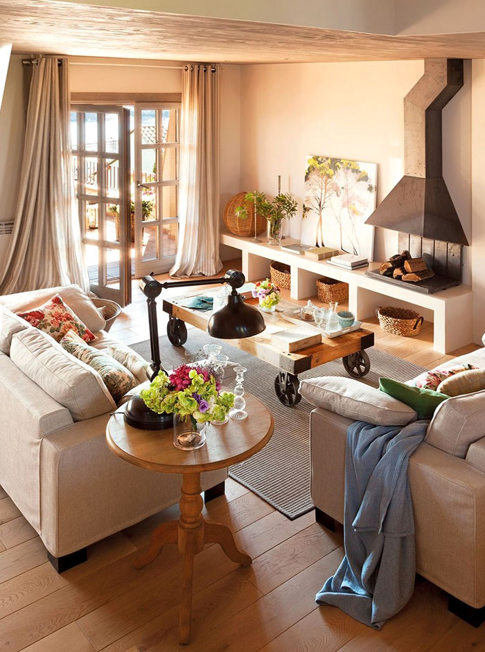 Warm and cozy spanish interior with beautiful outside view - Muebles de chimenea ...