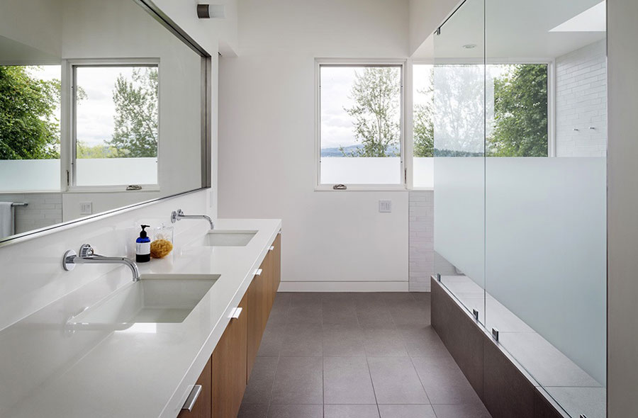 white bathroom design for summer house