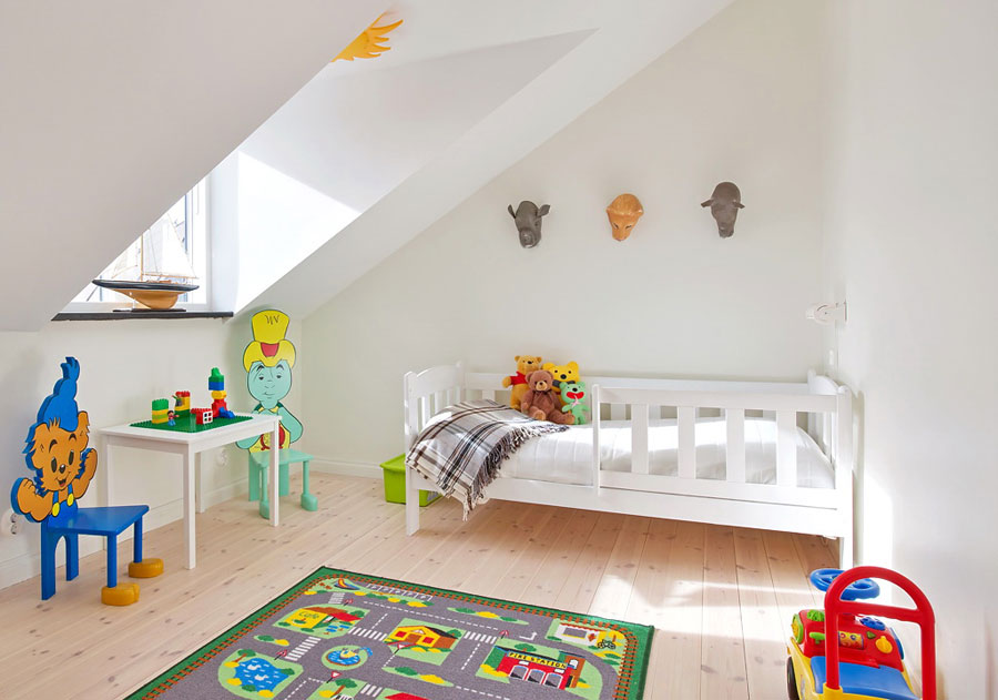 white kids room for loft apartment