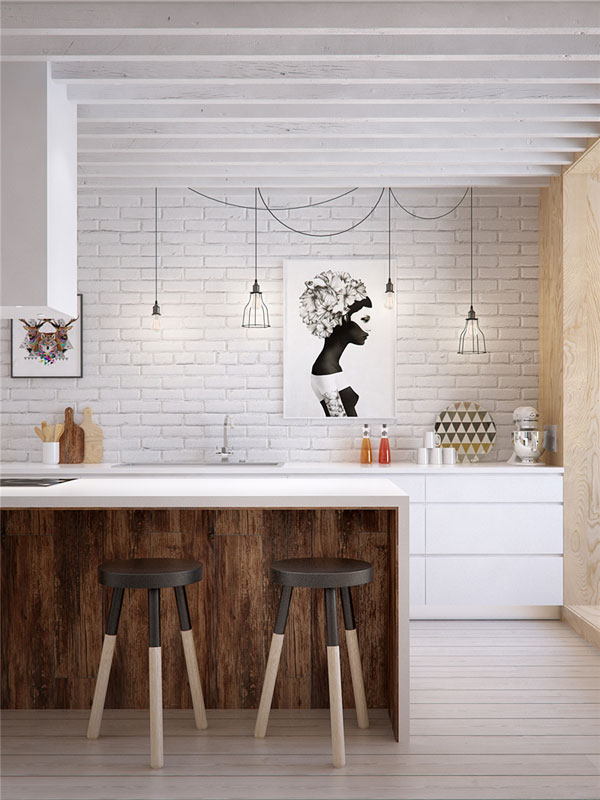 white kitchen design for apartment