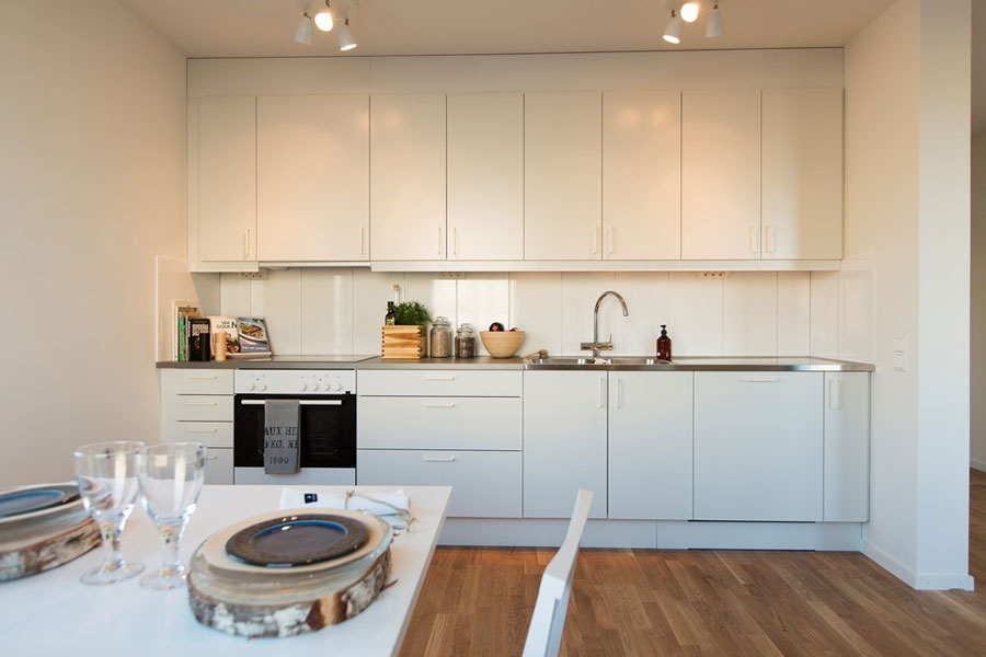 white kitchen design for scandinavian style apartment