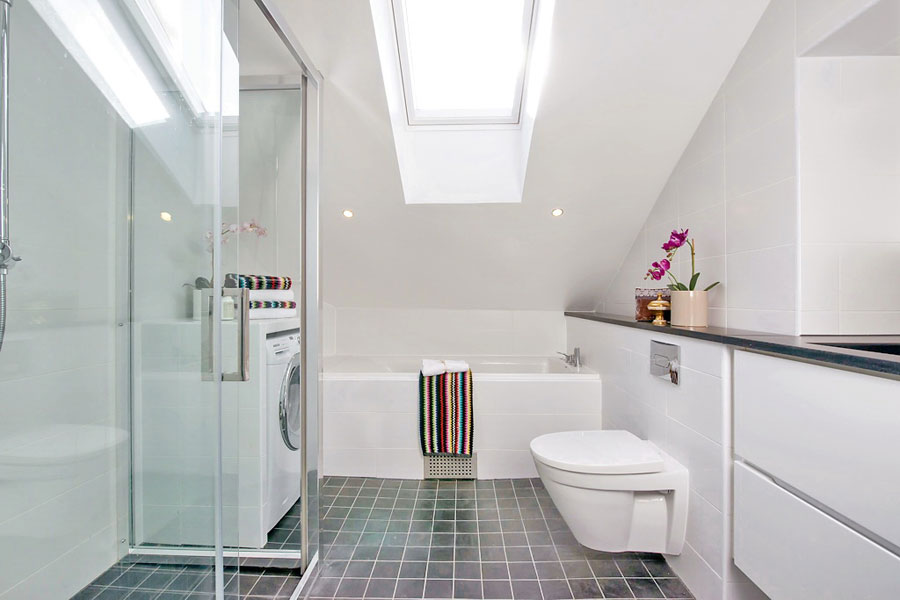 white loft bathroom design