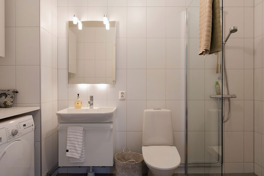 white shower room for scandinavian apartment