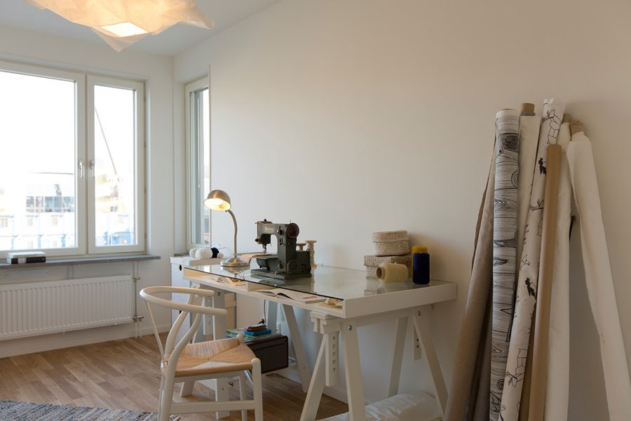 workspace with birch decorations for scandinavian apartment