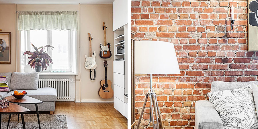 apartment interior design in scandinavian style with red brick wall