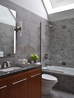 grey bathroom design with windows